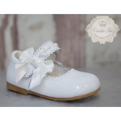 White Leather First Holy Communion/Special Occasion Shoes Style JANE