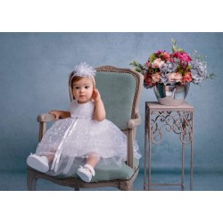 Handmade White Christening/Special Occasion Dress Style POLA