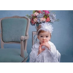 White Christening/Special Occasion Headband Style POLA WHITE