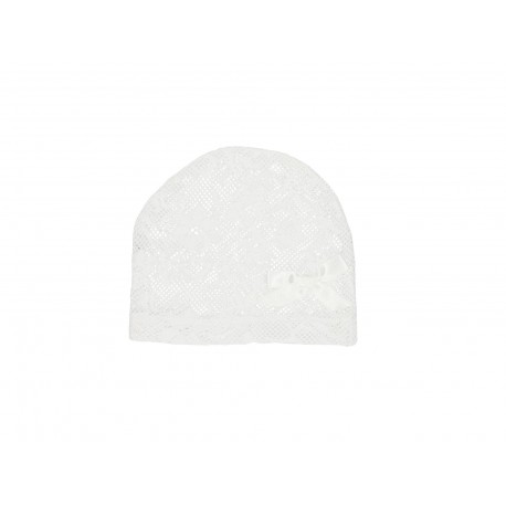 White Lace Handmade Christening Bonnet Style ANNA WHITE