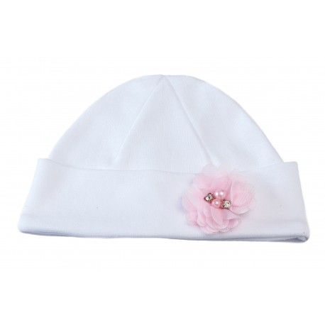White/Pink Christening/Special Occasion Bonnet Style BONNET IGA BIS