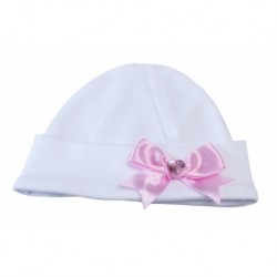 White/Pink Christening/Special Occasion Bonnet Style BONNET SUSAN