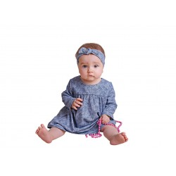 Navy Baby Girls Special Occasion Dress with Headband Style COTTON DRESS