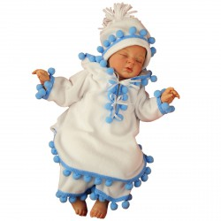 Winter Christening Outfit Blue Pancho