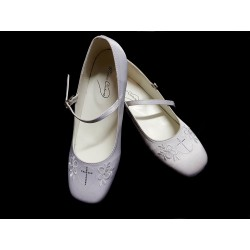 White Satin First Holy Communion/Special Occasion Shoes Style ANNA CROSS
