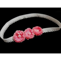 White/Pink Christening/Special Occasion Headband Style 107b
