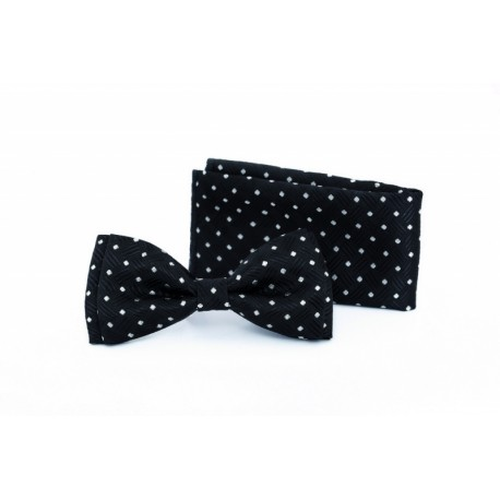 Black/White First Holy Communion Bowtie and Pocket Square Style F 17