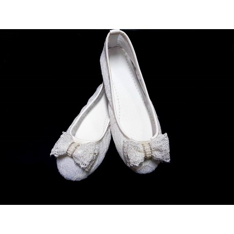 White First Holy Communion Lace Pumps Style 2018-0001