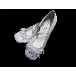 Mireio Couture snow white satin communion/flower girl shoes Style Saskia