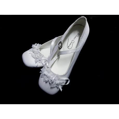 Mireio Couture snow white satin communion/flower girl shoes Style Saskia