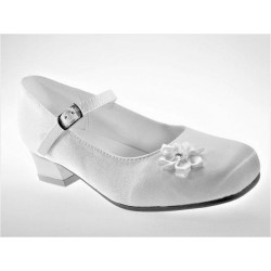White Satin First Holy Communion Shoes Style Lucie