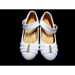 Leather White First Holy Communion Shoes Style A102