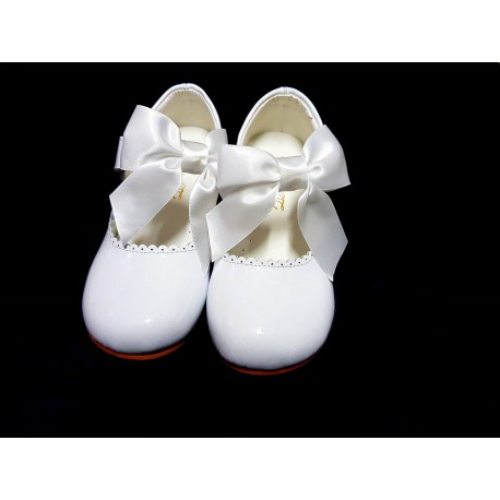 WHITE LEATHER FIRST HOLY COMMUNION/SPECIAL OCCASION SHOES Style MARY JANE BOWC