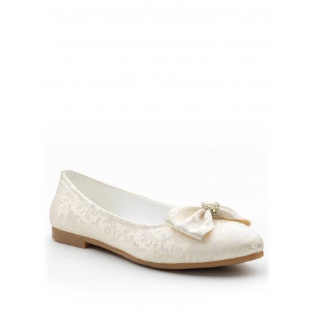 Ivory Satin Pattern Special Occasions Shoes Style 49354