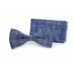 Light Grey First Holy Communion/Special Occasion Bow tie with Pocket Square Style F 7