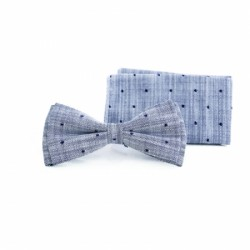 Light Blue First Holy Communion/Special Occasion Bow tie with Pocket Square Style F 6