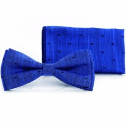 Navy First Holy Communion/Special Occasion Bow Tie with Pocket Square Style F19