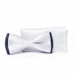 White/Navy First Holy Communion/Special Occasion Bow Tie with Pocket Square Style F 16