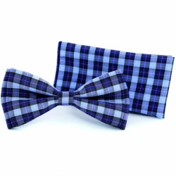 Chequered Blue/Navy Bow Tie and Handkerchiefs Style F 5