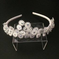 White Communion Headband with Daisy Flowers Style OW-401