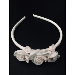 White Communion Headband with Light Pink Flowers OW-003