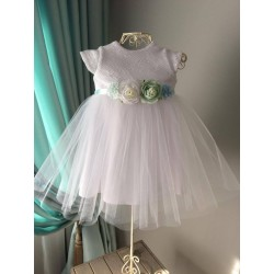 White Christening/Special Occasion Dress with Flowers Style SOPHIE BIS