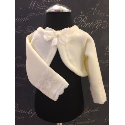Ivory Christening/Special Occasion Fleece Bolero with Lace