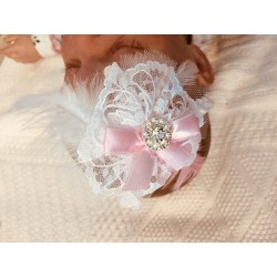White Satin Christening/Special Occasion Headband Style ANTONIA