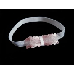 White/Pink Christening/Special Occasion Handmade Headband Style 315