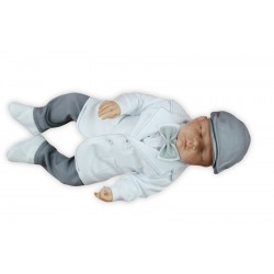 White/Gray Christening/Special Occasion Suit Style SIGMUND GREY WITH SUSPENDERS