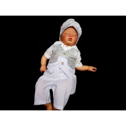White/Silver Christening Suit Style TOBY
