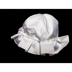 Pretty Ivory Satin Traditional Look Bonnet/Hat for Baby Girl Style Bonnet02