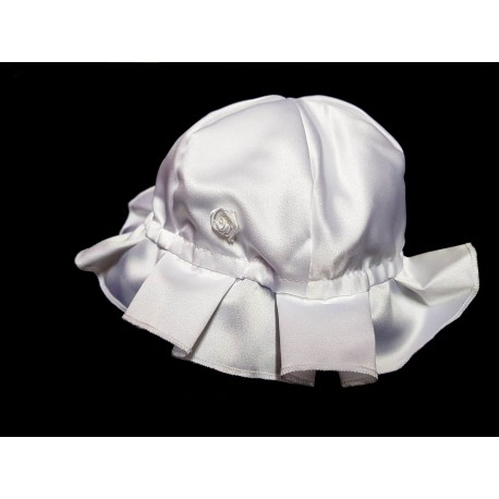 Pretty White Satin Traditional Look Bonnet/Hat for Baby Girl Style Bonnet02