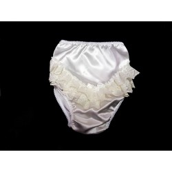 Ivory Baby Girl Satin Frilly Knickers style lacefrill