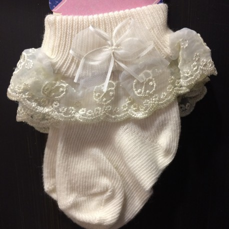 Ivory Baby Girl Christening/Special Occasion Ladybird Sock