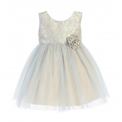 Blue/Gold Flower Girl/Special Occasion Dress by Sevva Style SK671
