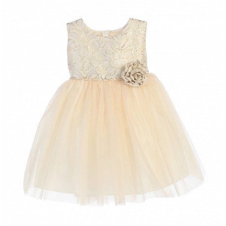 Ivory/Gold Flower Girl/Special Occasion Dress by Sevva Style SK671
