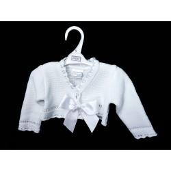 White Christening/Special Occasion Baby Girl Bolero Style NINA