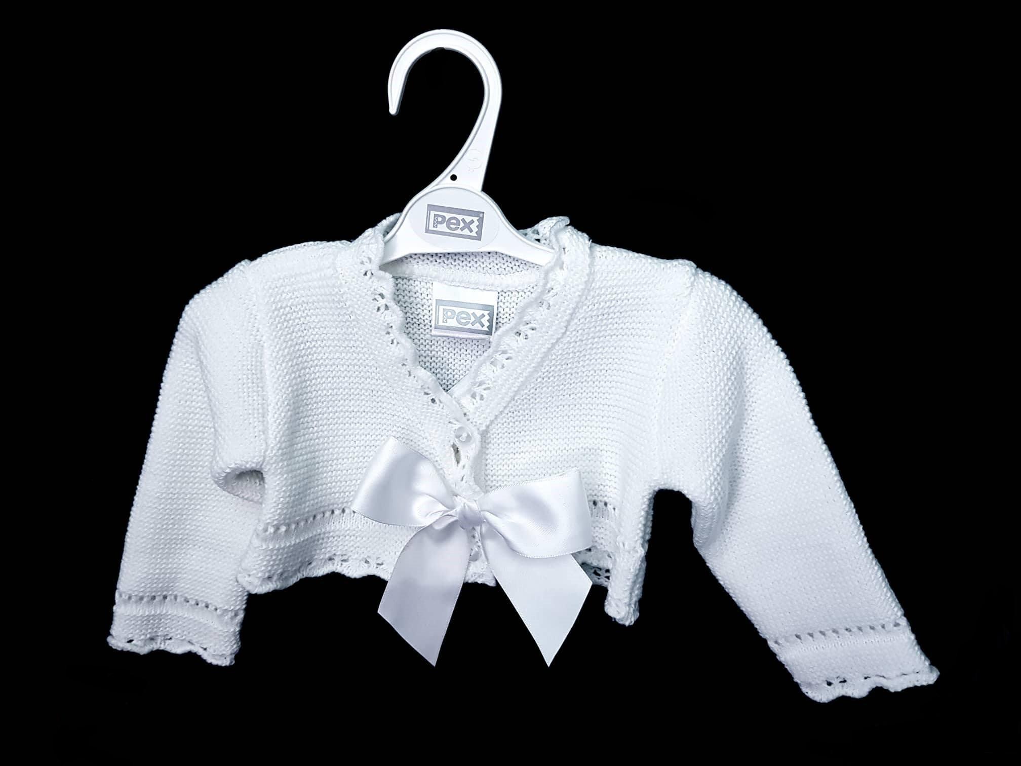 Spanish Knitted Baby Girls Cardigan Bolero Boleros Pink White 0-3 3-6 6-9 Mths