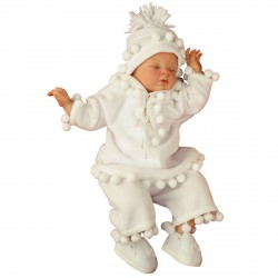 Fleece Christening Outfit White Pancho