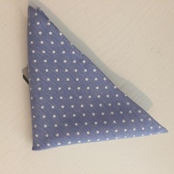 Light Blue Polka Dots Holy Communion/Special Occasion Handkerchief Style 10-08010D