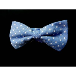 Light Blue Polka Dots Holy Communion/Special Occasion Bow Style 10-08009D