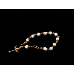 White/Gold Baptism Baby Bracelet 10th Rosary Style ROSARY 02