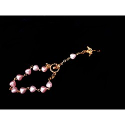 Pink/Gold Baptism Baby Bracelet 10th Rosary Style ROSARY 06