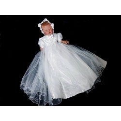 White Christening/Baptism Baby Girl Gown & Bonnet Style LUCY