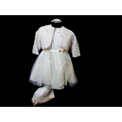 Ivory Christening Baby Girl Dress with Bolero & Bonnet Style VICTORIA