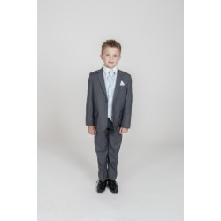 First Holy Communion/Special Occasion 5PC Grey Diamond Suit in Blue Style MARCO