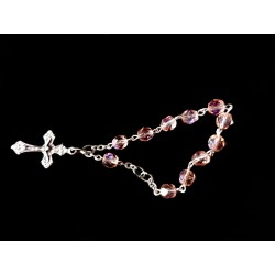 Pink/Silver Baptism Baby Bracelet 10th Rosary Style ROSARY 17