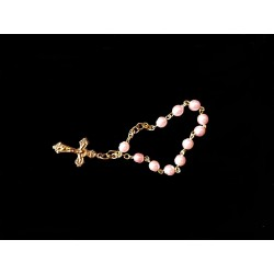 Pink/Gold Baptism Baby Bracelet 10th Rosary Style ROSARY 18