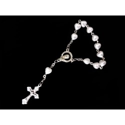 White/Silver Baptism Baby Bracelet 10th Rosary Style ROSARY 21